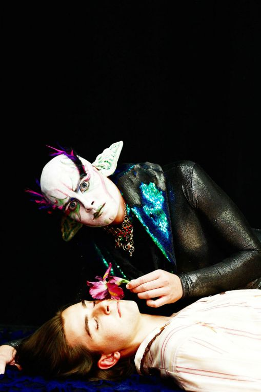 "Oberon (Joe Fernandez) uses the magic flower on Lysander (Conor Shaw) in a scene from ""A Midsummer Night's Dream."""
