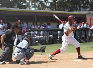 Saddleback's Kyle Candalla swings at a pitch in Tuesday's game against the Fullerton College Hornets. The Gauchos lost to the Hornets, 5-3, ending their 11-game winning streak. (Nick Nenad/Lariat)