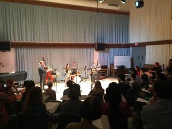 Joey Sellers, Ariel Alexander, Larry Koonse, Richard Lueras and Drew Bock performing for Concert Hour on Thursday, April 21. (Kurtis Rattay/ Lariat)
