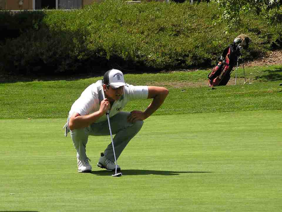 Saddleback College golfer Nick Prudhomme lines up his putt at Tijeras Creek Golf Course. The Gauchos have one match left until they return to Los Serranos Golf Course for the championship. (Courtesy of Saddleback Sports Information)