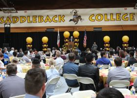 Michael S. Hamilton addresses the saddleback students who have received scholarships this year