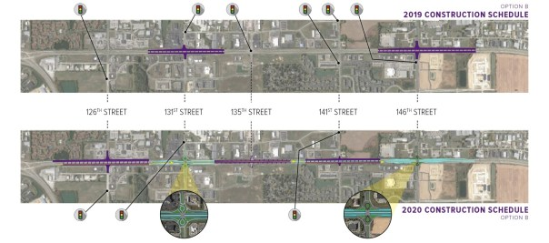 The slide shows 131st & 146th Street intersections closed for construction in 2019...in 2020, 126th, 135th & 141st Street intersection will close for construction