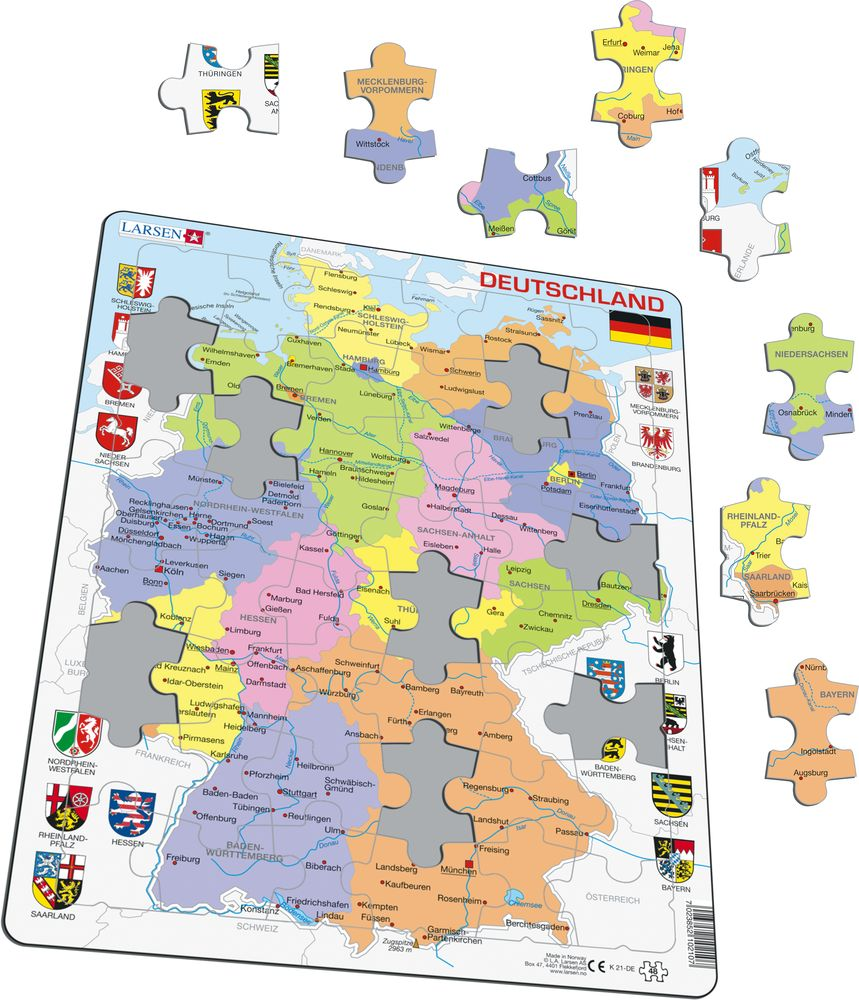 Maps Saarbrücken K21 Germany Political Maps Of Countries Puzzles Larsen