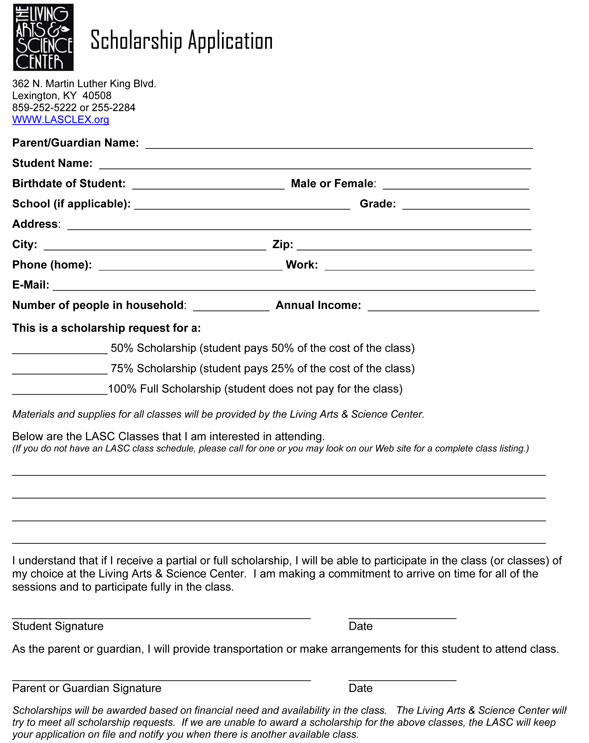 Scholarship Application \u2013 Living Arts and Science Center