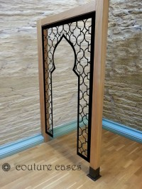 Open arabic minaret design in wood room partition  laser ...