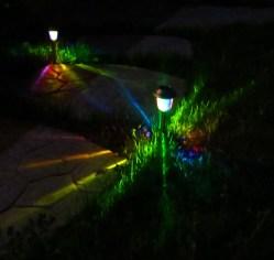 Dark Imagine Rainbow Colored Lights Marking Your Path Solar Rainbow Path Lights Solar Path Lights Solar Path Lights Rechargeable Batteries