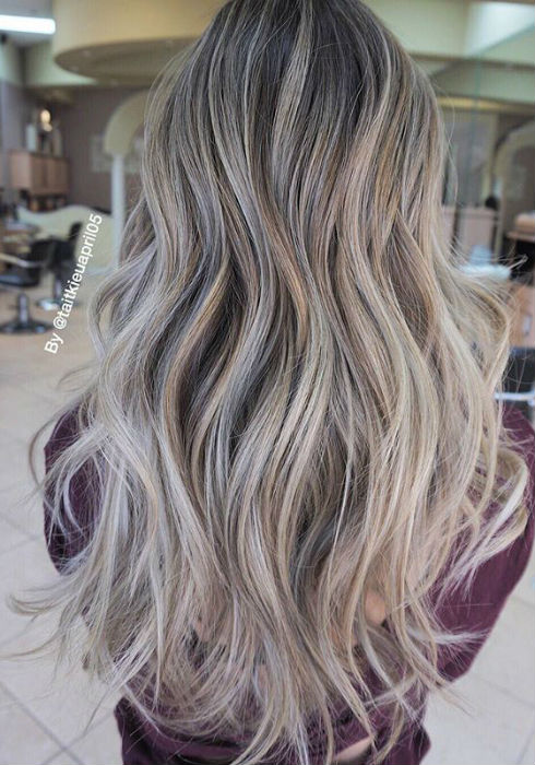 Brown Hair With Highlights Ash Blonde Balayage And Silver Ombre Hair Color Ideas 2017