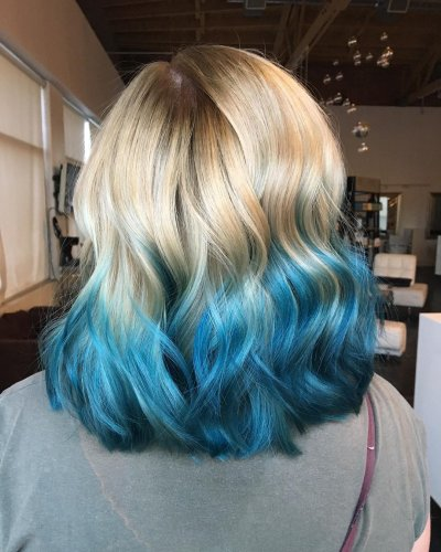 Dark Brown Balayage Long Bob Blue Ombre Hair Color Light And Dark Shades 2017
