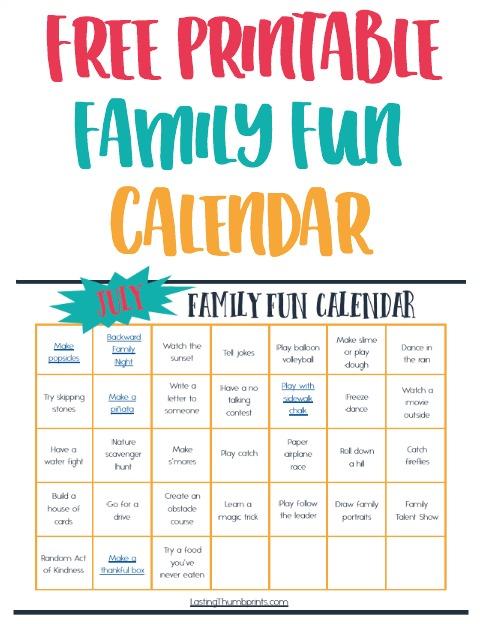 July Family Fun Calendar - Easy  Affordable Ideas!