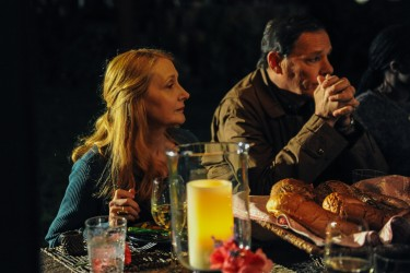 Celia Green (Patricia Clarkson) and Malcolm Green (Chris Mulkey) at dinner in LAST WEEKEND.