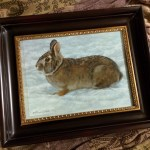 One of my paintings that will debut at the Mountain Oyster Club Contemporary Art Show and Sale in Tucson, Arizona Nov 22, 2015 - Jan 8, 2016 Light Snow - Rabbit, 9in x 12in, watercolor on board with sterling silver