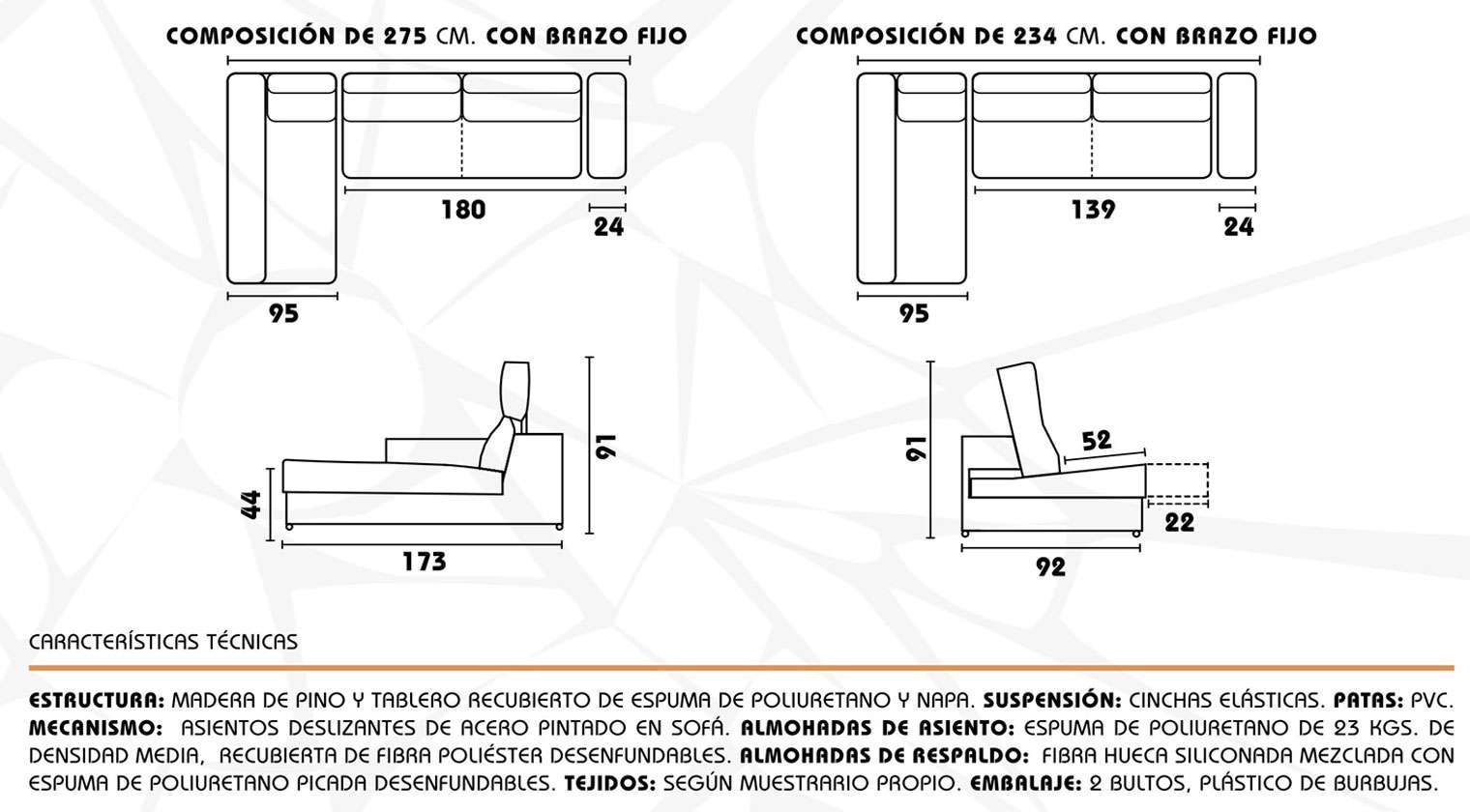 Sofa Medidas Estandar Sofá Chaise Longue Sevilla Chaise Longue Tela