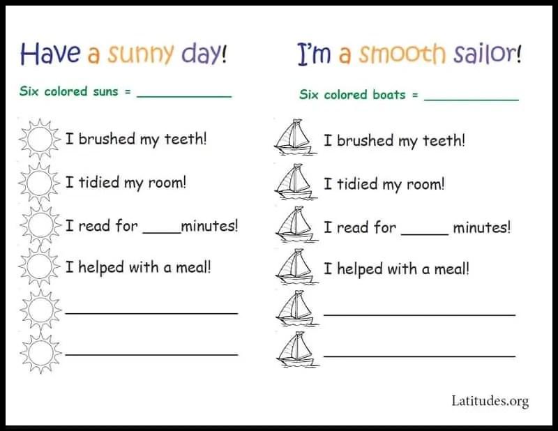 FREE Daily Chore Chart (Sun and Sail) ACN Latitudes - daily chore