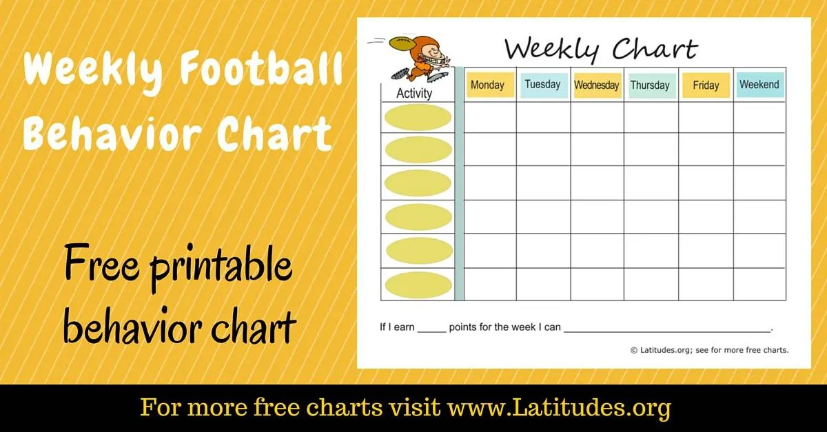 FREE Weekly Behavior Chart (Football Player) ACN Latitudes