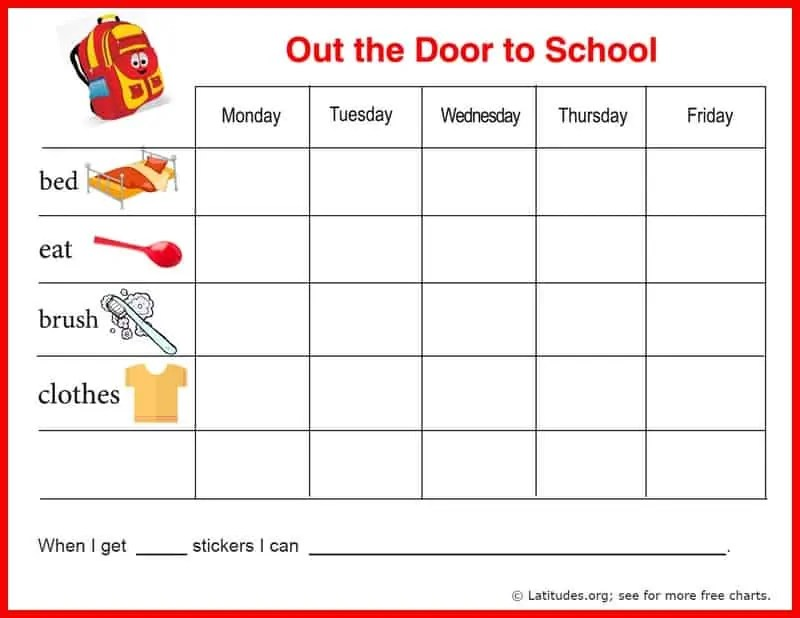 FREE Reward Chart (Out the Door to School) ACN Latitudes - sticker chart