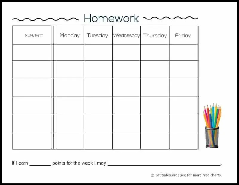 FREE Weekly Homework Chart (Intermediate) ACN Latitudes