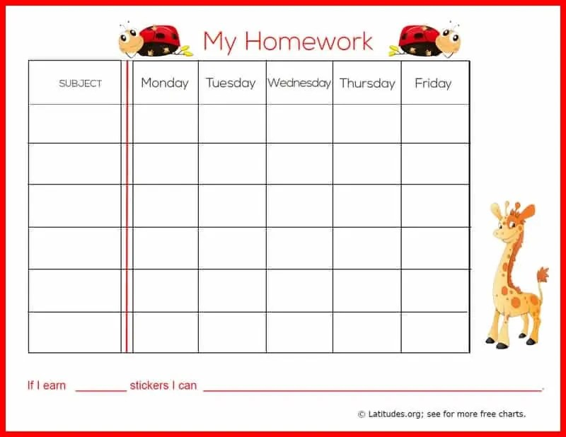 FREE Weekly Homework Sticker Chart (Primary) ACN Latitudes - sticker chart