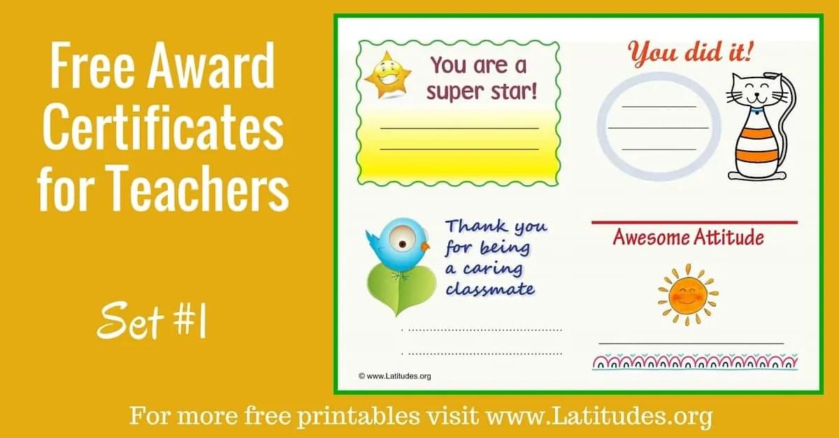 FREE Award Coupons for Teachers (Set #1) ACN Latitudes