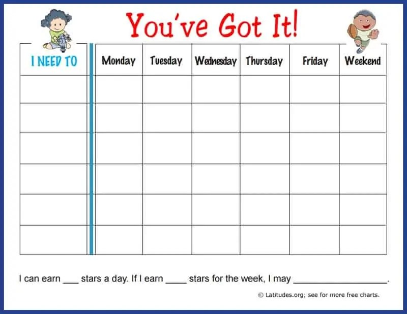 FREE Weekly Behavior Chart (You\u0027ve Got It!) ACN Latitudes - Free Chart
