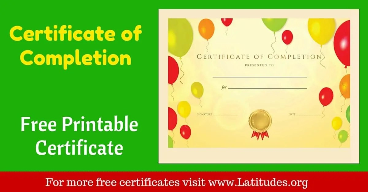 FREE Certificate of Completion Award ACN Latitudes