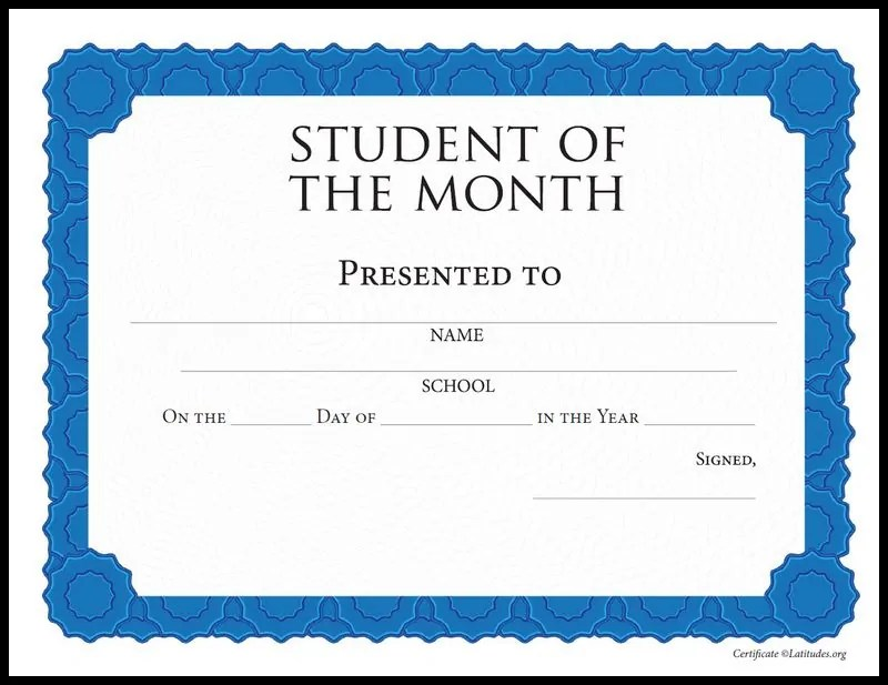 FREE Student of the Month Achievement Certificate (Intermediate - certificate of achievement for students