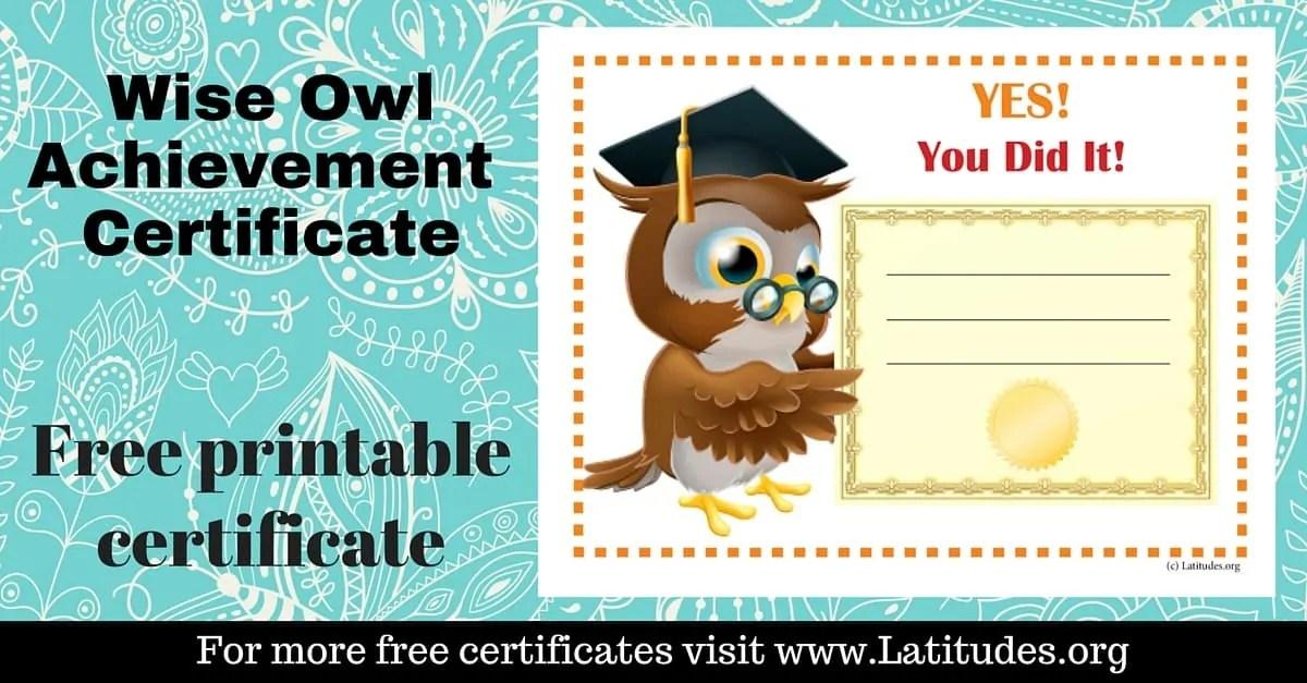 FREE Achievement Certificate (Wise Owl) ACN Latitudes