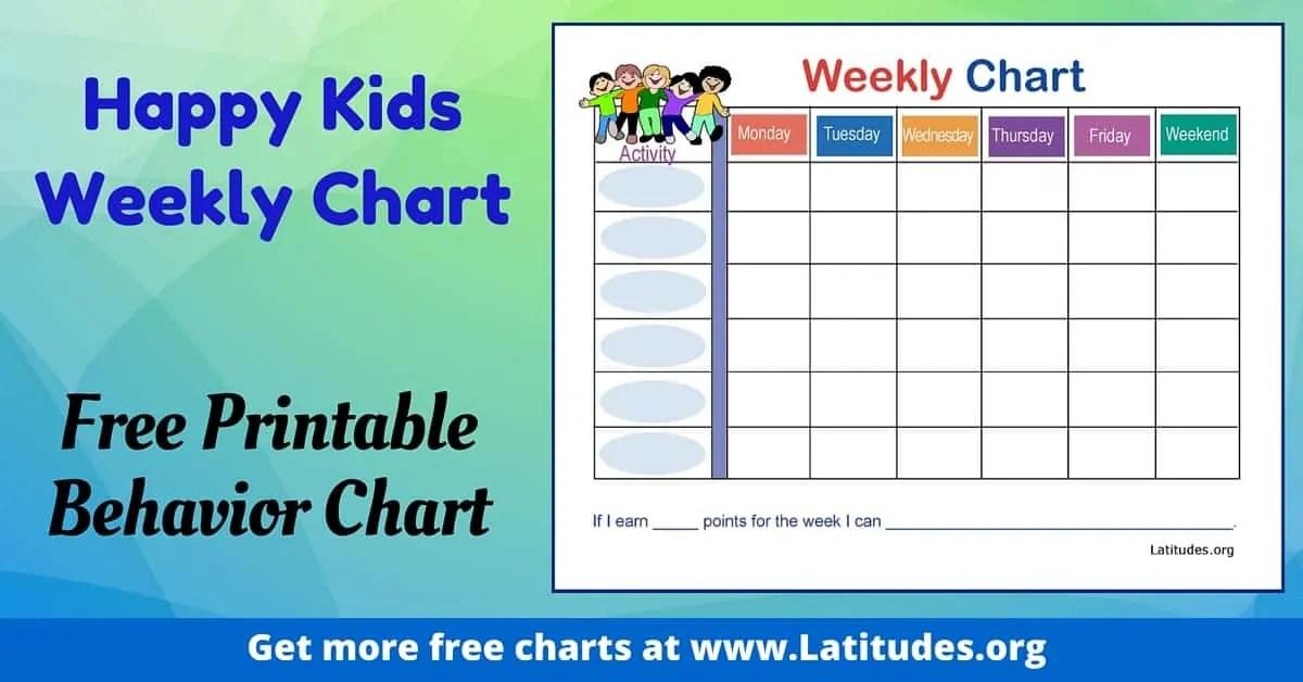 FREE Weekly Behavior Chart (Happy Kids) ACN Latitudes