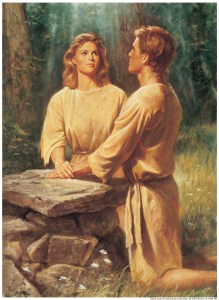 Adam-and-Eve-Kneeling-at-Altar-Praying