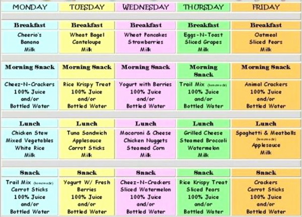 Daycare Lunch Menu Template Latter Example Template