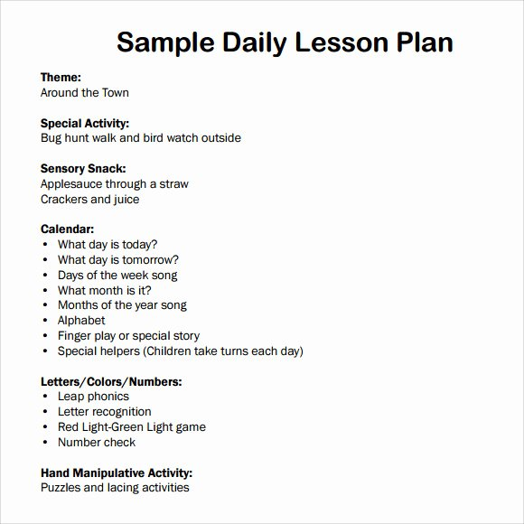 7 Sample Daily Lesson Plans \u2013 Latter Example Template