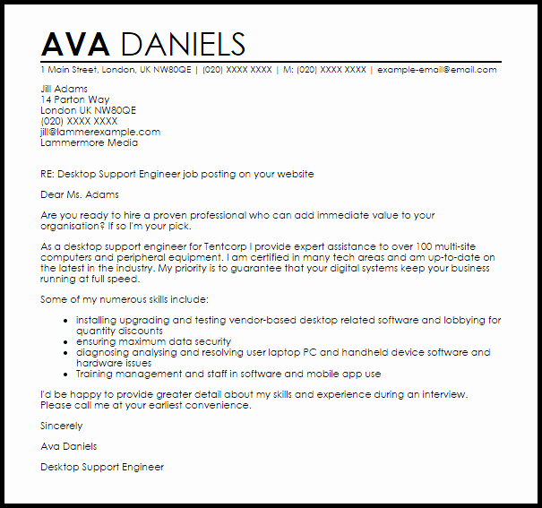 Desktop Support Cover Letter Latter Example Template