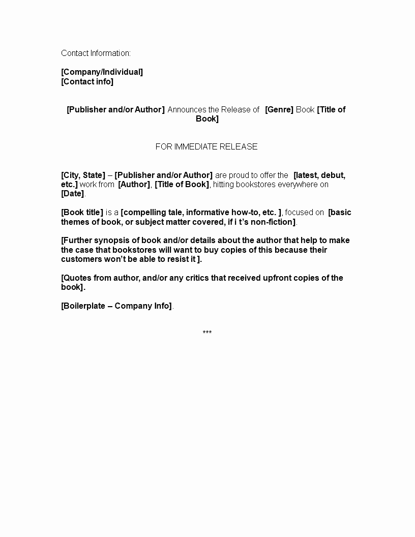 Press Release Template Free Press Release Template Latter Example Template