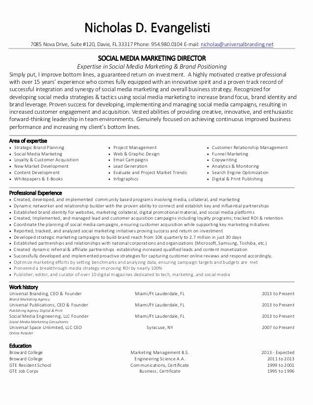 Social Media Marketing Resume Latter Example Template