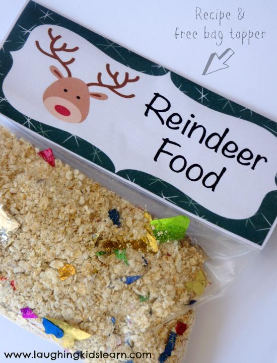 Reindeer food recipe and printable bag topper - Laughing Kids Learn