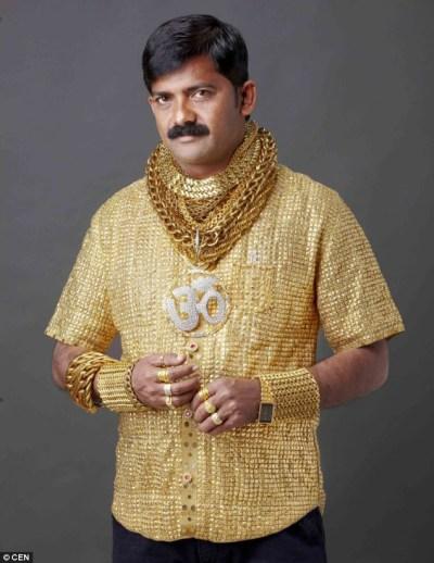 Indian Man Gold Shirt