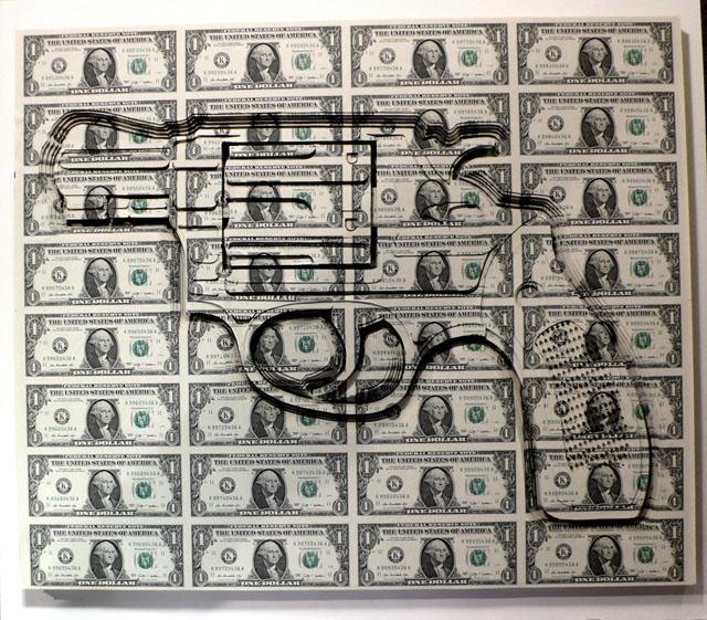 Laser cut dollar art by Scott Campbell