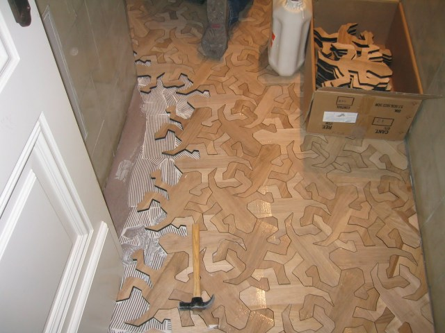 M. C. Escher Reptiles wooden floor