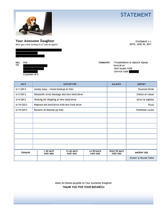 Daughter Sends Her Dad a Funny Invoice For Fixing His Laptop