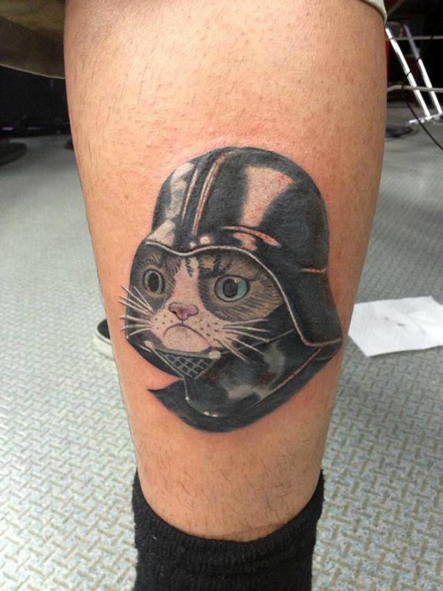 Grumpy Cat as Darth Vader Tattoo