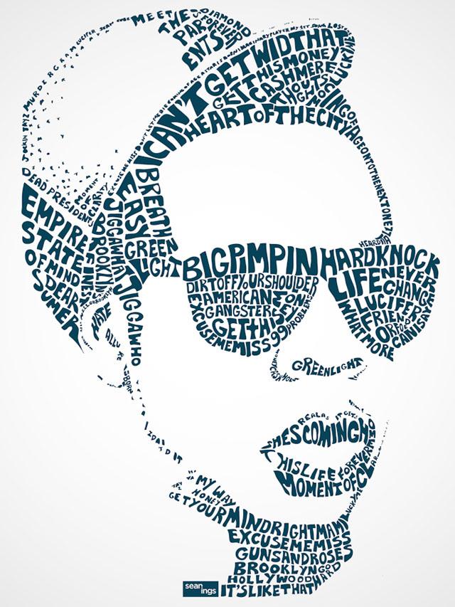 Typographic celebrity portraits by Sean Williams