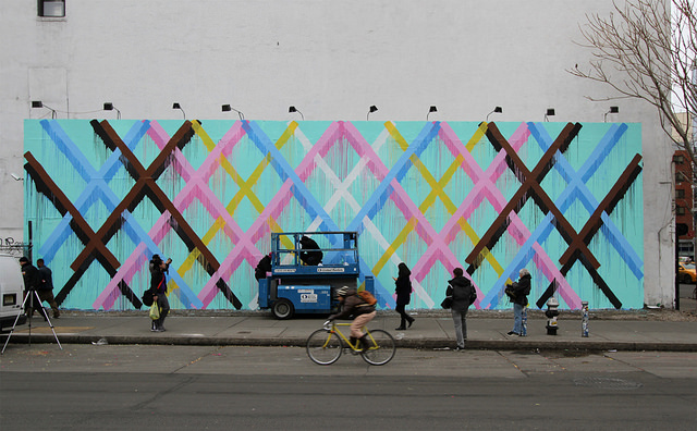 Geometric Mural at the Bowery Wall by Maya Hayuk