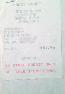 My 2003 Receipts, Brine Hardware