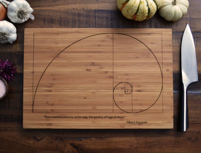 Custom Cutting Board Fibonacci Spiral