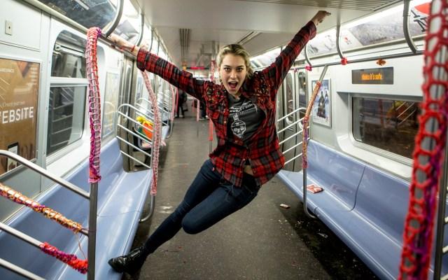 London Kaye Yarn Bombs NYC Subway Tran