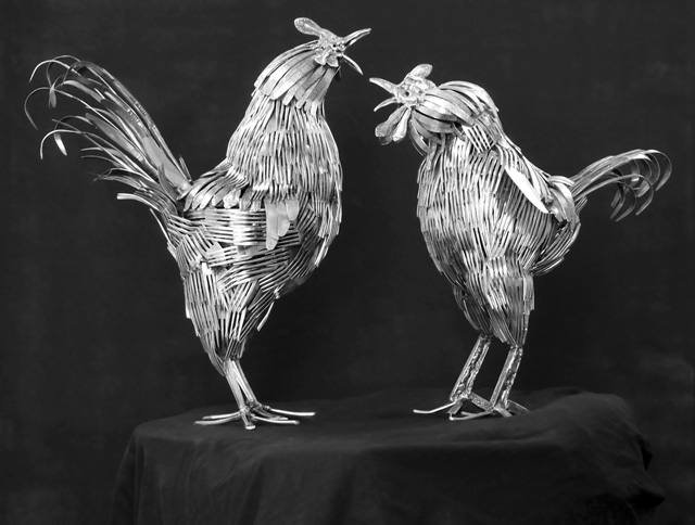 Flatware Animal Sculptures by Gary Hovey
