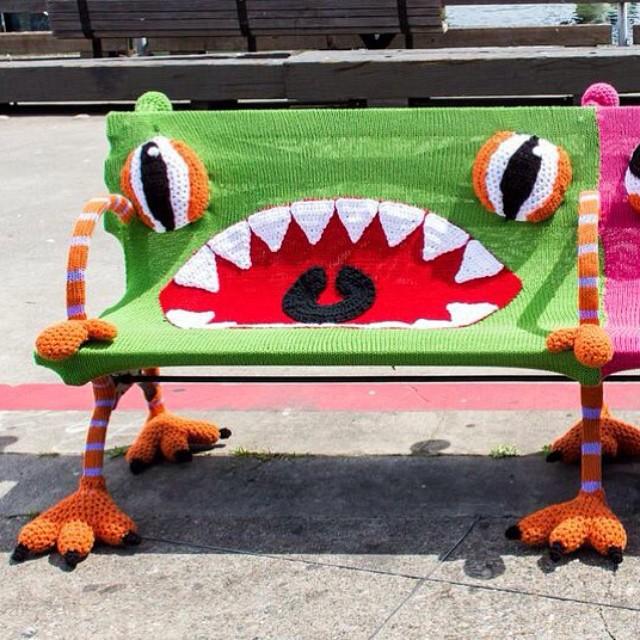 Monster Bench Yarn Bombing