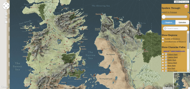 Interactive Map of Game of Thrones