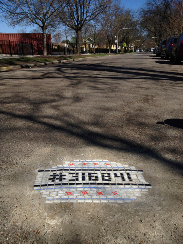 Artist Fills Chicago Potholes with Mosaic Art