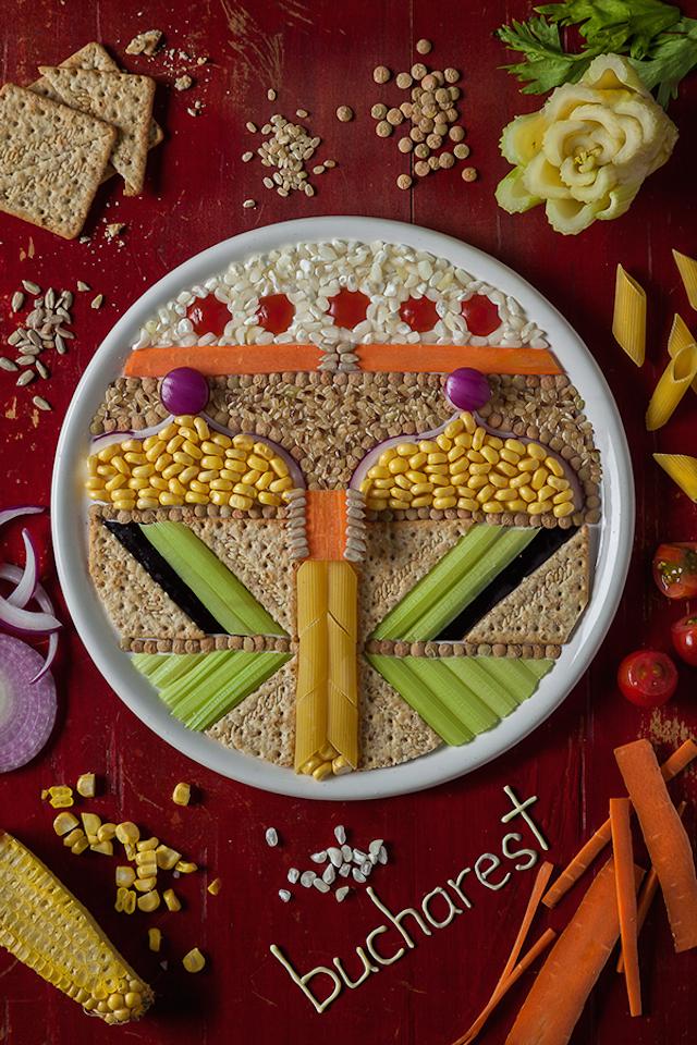Food Art Illustrations of Eastern European Capitals