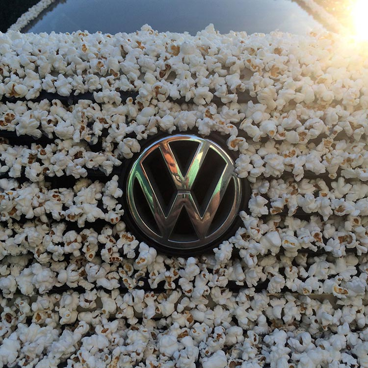 A 1983 Volkswagen Covered in Popcorn